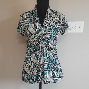 Blue & Black Alfani Short Sleeve Blouse